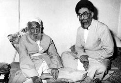 Sayyid 'Ali Khamenei beside his father