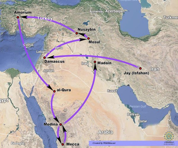 The route of Salman's journeys. (Hover the mouse pointer over the map for enlargement)